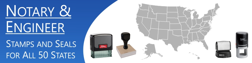 Notary & Professional Stamps Made and Shipped Daily.  Same day manufacturing, free shipping, no sales tax - ever.